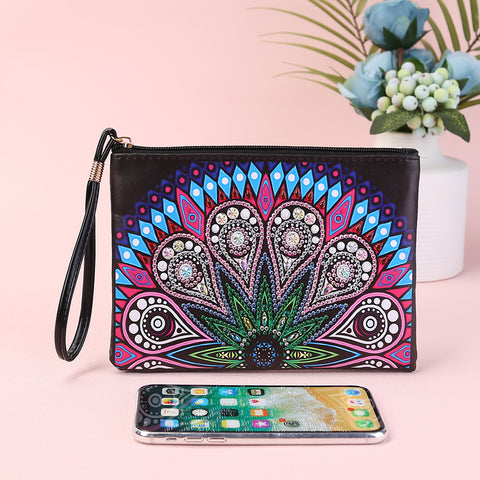 DIY Mandala Special Shaped Diamond Painting Wristlet Wallet Zipper Clutch