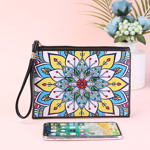 DIY Mandala Special Shaped Diamond Painting Wristlet Wallet Women Clutch