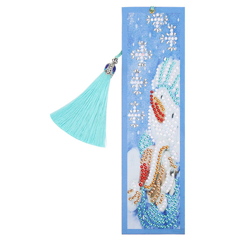 DIY Special Shaped Diamond Painting Creative Leather Bookmarks with Tassel