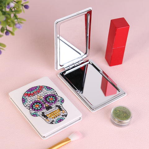Diamond Painting Mini Makeup Vanity Mirror-DIY Crystal Rhinestone Skull