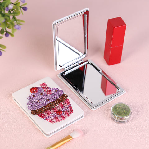 Diamond Painting Mini Makeup Vanity Mirror-DIY Crystal Rhinestone Ice Cream