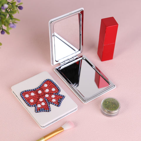Diamond Painting Mini Makeup Vanity Mirror-DIY Crystal Rhinestone Bow Tie