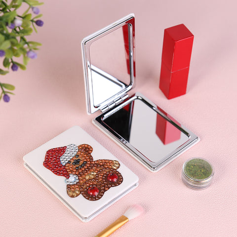 Diamond Painting Mini Makeup Vanity Mirror-DIY Crystal Rhinestone Bear