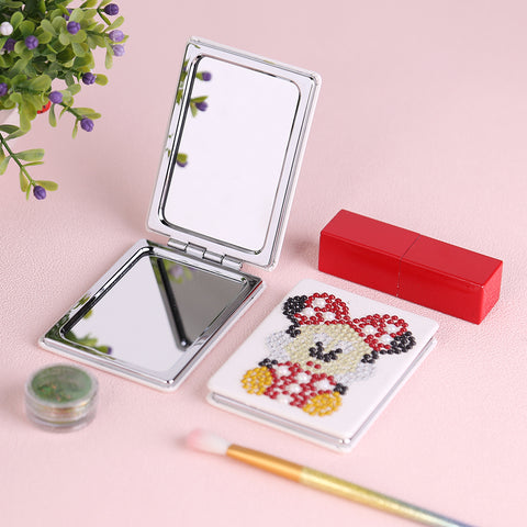 Diamond Painting Mini Makeup Vanity Mirror-DIY Crystal Rhinestone Mouse