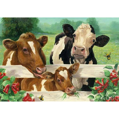 Diamond Painting-5D Full Round Drill Cow
