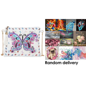 DIY Butterfly Special Shaped Diamond Painting Leather Chain Messenger Bags + Randomly DP in the Picture