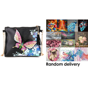DIY Butterfly Special Shaped Diamond Painting Leather Chain Shoulder Bags + Randomly DP in the Picture