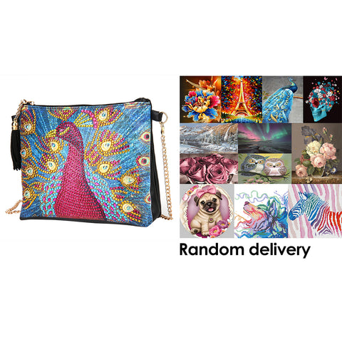 DIY Peafowl Special Shaped Diamond Painting Leather Chain Crossbody Bags+ + Randomly DP in the Picture