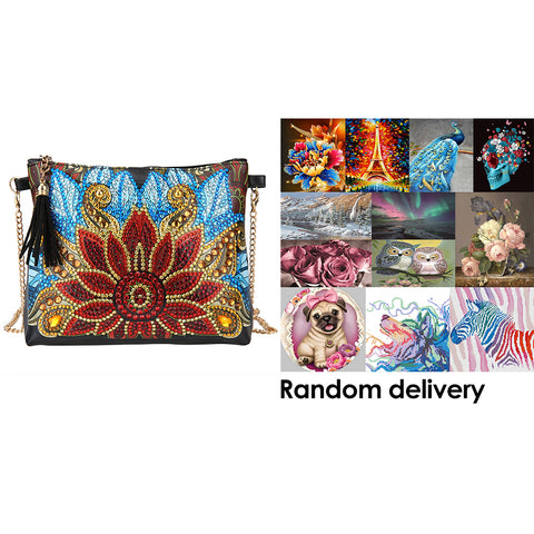 DIY Flower Special Shape Diamond Painting Leather Chain Shoulder Bag Clutch + Randomly DP in the Picture