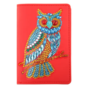 DIY Owl Special Shape Diamond Painting Leather Passport Protective Cover