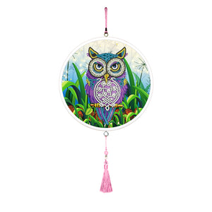 Owl DIY Diamond Painting Pink Tassels Special Shape Drill for Home Pendants