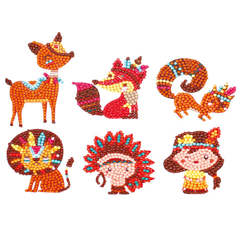Animal Sticker DIY Diamond Painting Round Drill Paster Children Puzzle Gift