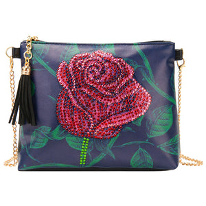 DIY Rose Special Shaped Diamond Painting Women Leather Chain Crossbody Bags
