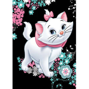 Diamond Painting-5D Full Round Drill Pink Cat