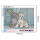 Diamond Painting-5D Full Round Drill Rabbit and Cat