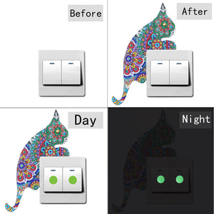 DIY Cat Diamond Painting Luminous Switch Stickers Outlet Wall Decals Decor