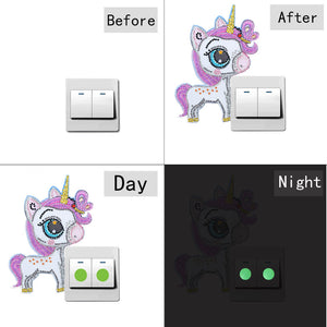 DIY Horse Diamond Painting Luminous Switch Stickers Home Wall Decals Decor