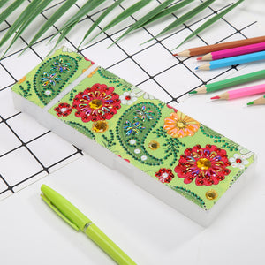 DIY Flower Special Shaped Diamond Painting 2 Grids Pencil Storage Box Gift