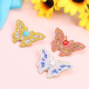 3pcs DIY Full Drill Diamond Brooch Butterfly Rhinestone Jacket Lapel Pins