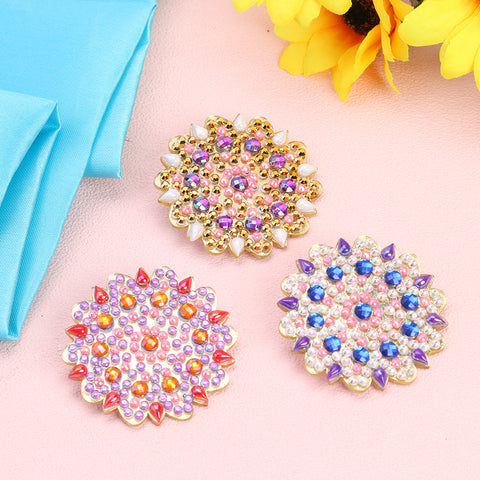 3pcs DIY Full Drill Diamond Brooches Flower Rhinestone Jacket Lapel Pins