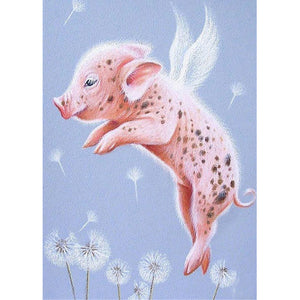 Diamond Painting-5D Full Round Drill Flying Pig