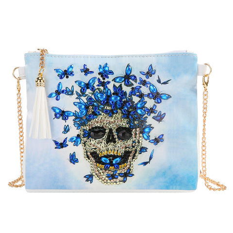 DIY Skull Special Shaped Diamond Painting Leather Chain Shoulder Bag Clutch