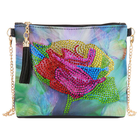 DIY Flower Special Shaped Diamond Painting PU Leather Chain Crossbody Bags