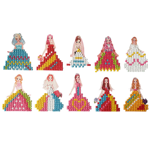 Princess Shape Sticker Child Puzzle Gift DIY Diamond Painting Round Drill