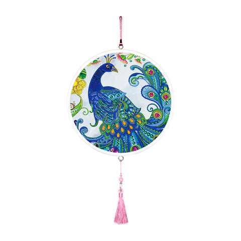 Peacock Mural Pink Tassels Special Shape DIY Diamond Painting Home Decor