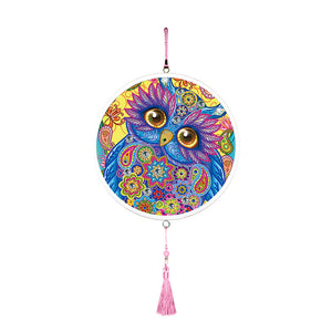 Owl Mural Pink Tassels DIY Diamond Painting Special Shape Drill Home Decor