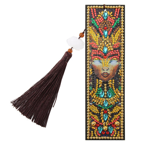 DIY Special Shaped Diamond Painting Leather Tassel Bookmark Creative Gift