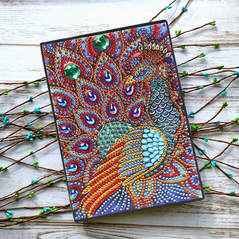 DIY Crystal Rhinestones Diamond Painting Peafowl Notebook