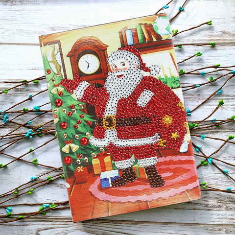 DIY Crystal Rhinestones Diamond Painting Santa Claus Notebook