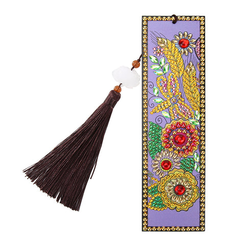 DIY Flower Special Shaped Diamond Painting Leather Tassel Bookmark Gifts