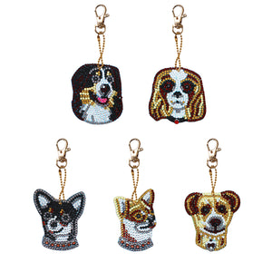 DIY Diamond Painting Keychain-5pcs/Set Dog Bag Keychain Jewelry Gift
