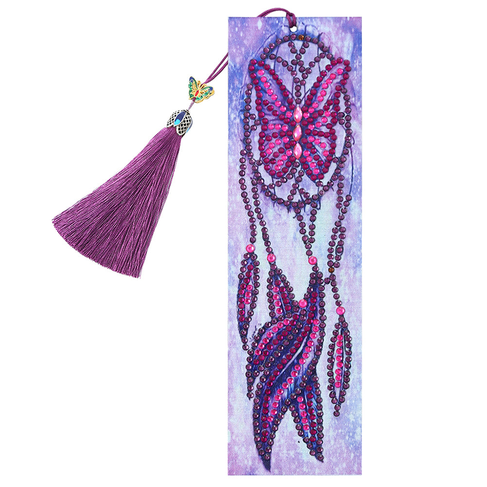 DIY Dreamcatcher Special Shaped Diamond Painting Leather Bookmark w/Tassel