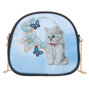 DIY Cat Special Shaped Diamond Painting Women Leather Chain Crossbody Bags