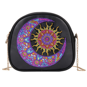DIY Sun Moon Special Shaped Diamond Painting Leather Chain Crossbody Bags