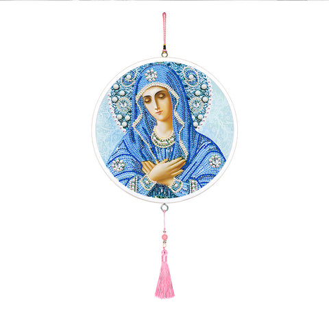 Virgin Mary Mural Pink Tassel Special Shape DIY Diamond Painting Home Decor