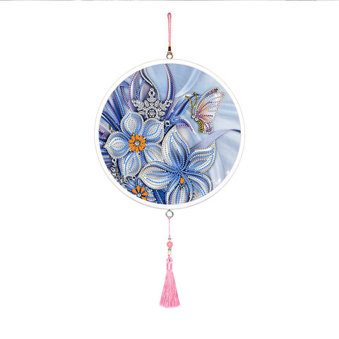 Flower Butterfly Mural Pink Tassel Decor Special Shape DIY Diamond Painting