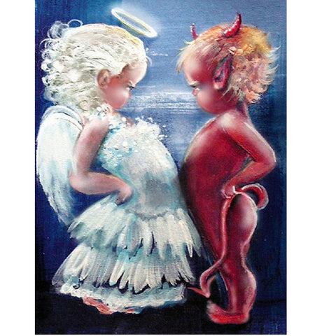 Diamond Painting-5D Full Round Drill Angel and Demon