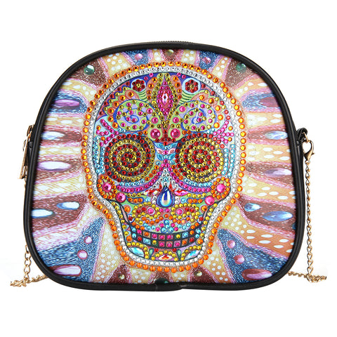 DIY Skull Special Shaped Diamond Painting Leather Shoulder Bag Chain Clutch