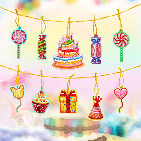 10pcs Cute Greeting Card Pendant Diamond Painting Single Side Special Shape