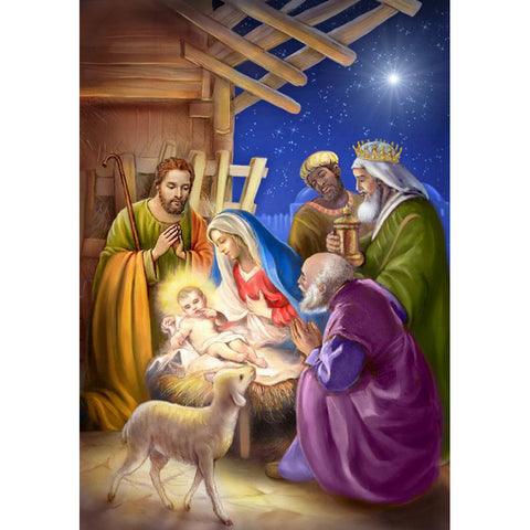 Diamond Painting-DIY Full Round Drill Birth of Jesus