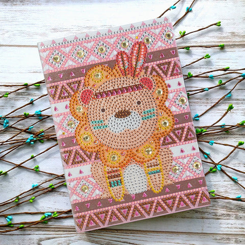 DIY Crystal Rhinestones Diamond Painting Lion Notebook