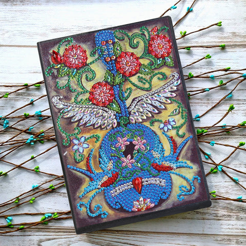 DIY Crystal Rhinestones Diamond Painting Violin Notebook