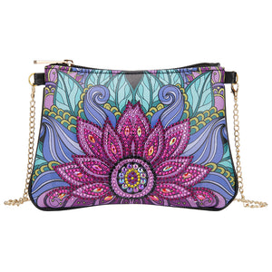 DIY Flower Special Shape Diamond Painting Leather Clutch Chain Shoulder Bag
