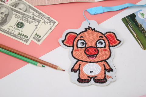 DIY Diamond Painting Leather Bus Card Hanging Bag ID Card Holder (Pig)
