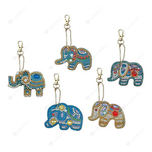 Diamond Painting-5pcs/set DIY Full Crystal Rhinestone Elephant Keyring Keychains