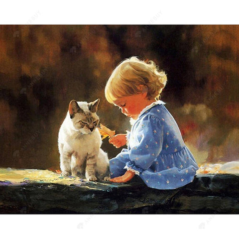 Diamond Painting-Partial Drill Round Beads Little Girl and Cat